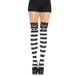 Fancy Cat Striped Opaque Pantyhose