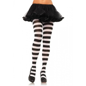 Black & White Wide Striped Tights