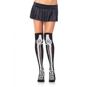 Skeleton Print Knee Socks