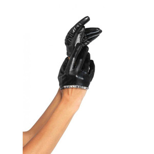 Black Vinyl Assymetrical with Studs Gloves