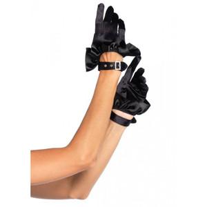Cropped Satin Ruffle Black Gloves