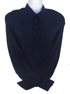 Mens Navy Long Sleeve Button-Up Shirt