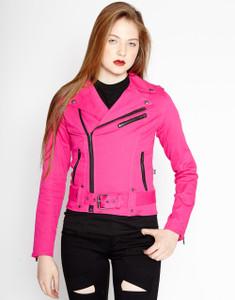 Women's Neon Pink Wild Child Biker Jacket