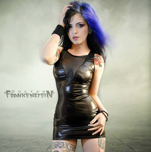 Dr. Frankenstein - Mesh V Neck Lycra Dress