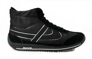 Panam - Black Leather Hi-Top Unisex Sneaker