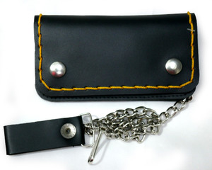 Yellow Stitch Large Leather Wallet with Chain