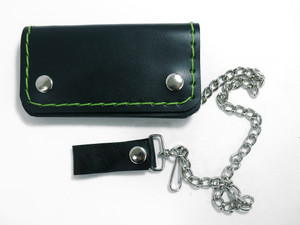 Green Stitch Small Leather Wallet with Chain