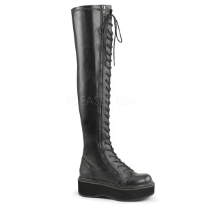 """2"""" Thigh-High Lace-Up Boot with  Outer Metal Zipper by Demonia"""