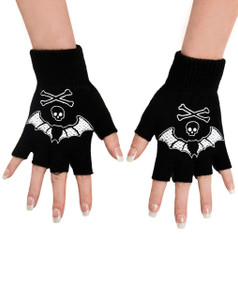 Too Fast - Bat Lace Fingerless Gloves