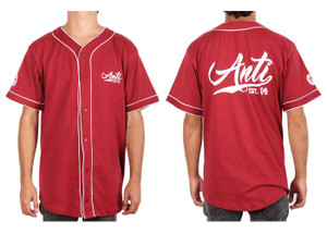 Mens Anti Baseball Style Red Button-Up Shirt