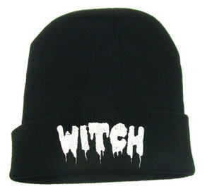 Black Beanie Embroidered Witch emblem
