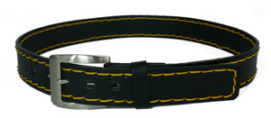 Leather Belt with Yellow Stitches