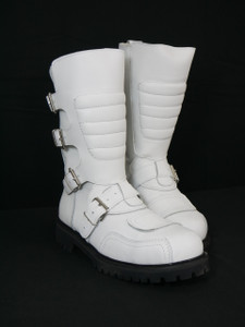 Road Warrior - Goose 4-Strap Harness White Leather Boots