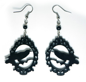 Gothic Crow Acrylic Earrings