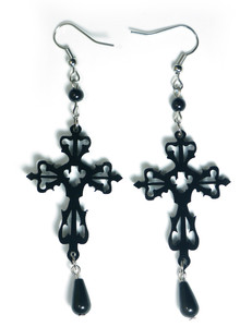 Gothic Black Victorian Cross Earrings