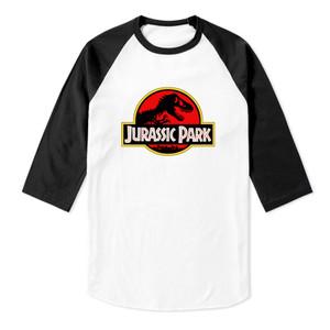 Jurassic Park Logo Raglan Baseball 3/4 Sleeve T-Shirt