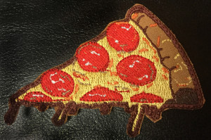 "Pizza Slice with Melting Cheese 3.5x2"" Embroidered Patch"