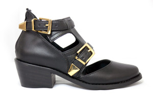 Mitu Brand Irene Black Leather Ankle High Heels