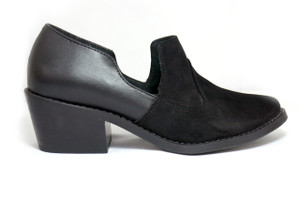 Julia Black Leather Shoes with  Heels by Mitu