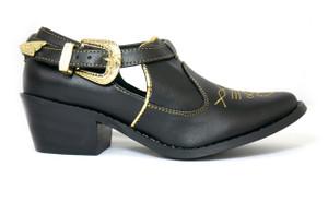 Julieta Black Leather Western Shoes with  Heels by Mitu