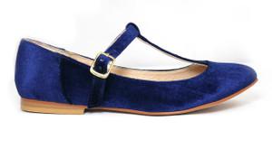 Mitu Brand Lola Blue Velvet Shoes with  Short Heels