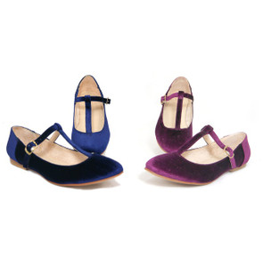 Lola Blue Velvet Shoes with  Short Heels by Mitu