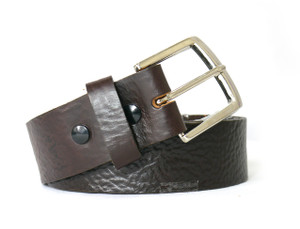 Black Buckle Buttons Brown Colored Leather Belt