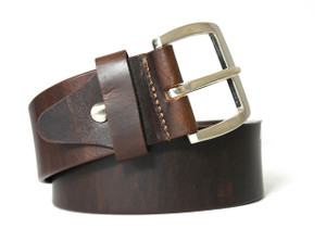 Chrome Buckle Button Wine Colored Leather Belt