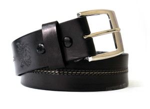 Middle Stitching Black Leather Belt