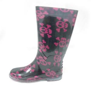 Panam - Pink Skulls Pattern Women's Rain Boots