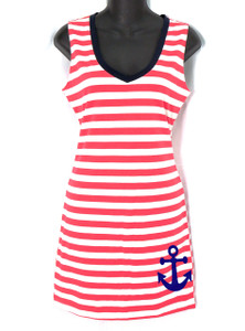 White and Pink Striped Sailor Tank Dress