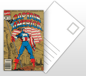 Captain America 50th Anniversary Issue Comic Cover Postal Card