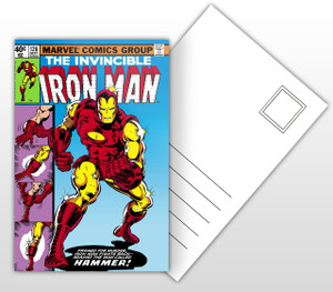 The Invincible Iron Man Fights The Hammer Comic Cover Postal Card