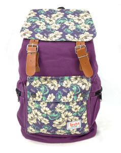 Tevha Supplies - Violet and White Flower Pattern Old Boy Backpack