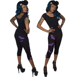 Kreepsville 666 - Bat-tastic Purple Capri Pants