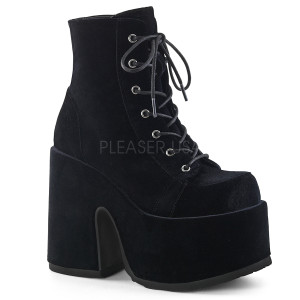 Ankle High Velvet Boots with  Platform and Lace-Up Method
