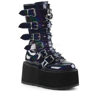 Knee High Hologram Boots with  Platform and Buckles