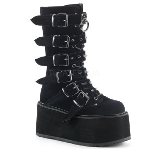 Women's Knee High Velvet Boots with  Platform and Buckles