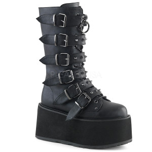 Women's Knee High Vegan Boots with  Platform and Buckles