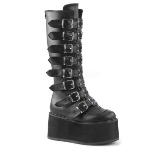 Knee High Vegan Boots with  Platform Buckles and Straps