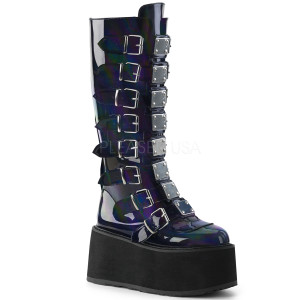 Knee High Black Hologram Boots with  Platform Buckles and Straps