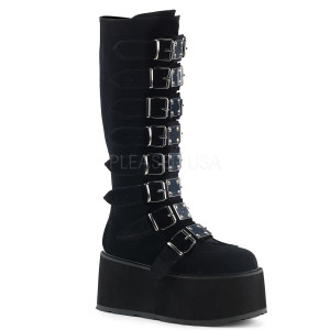 Knee High Velvet Boots with  Platform Buckles and Straps