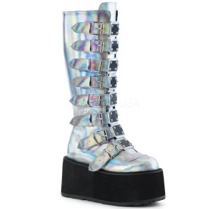 Knee High Hologram Boots with  Platform Buckles and Straps