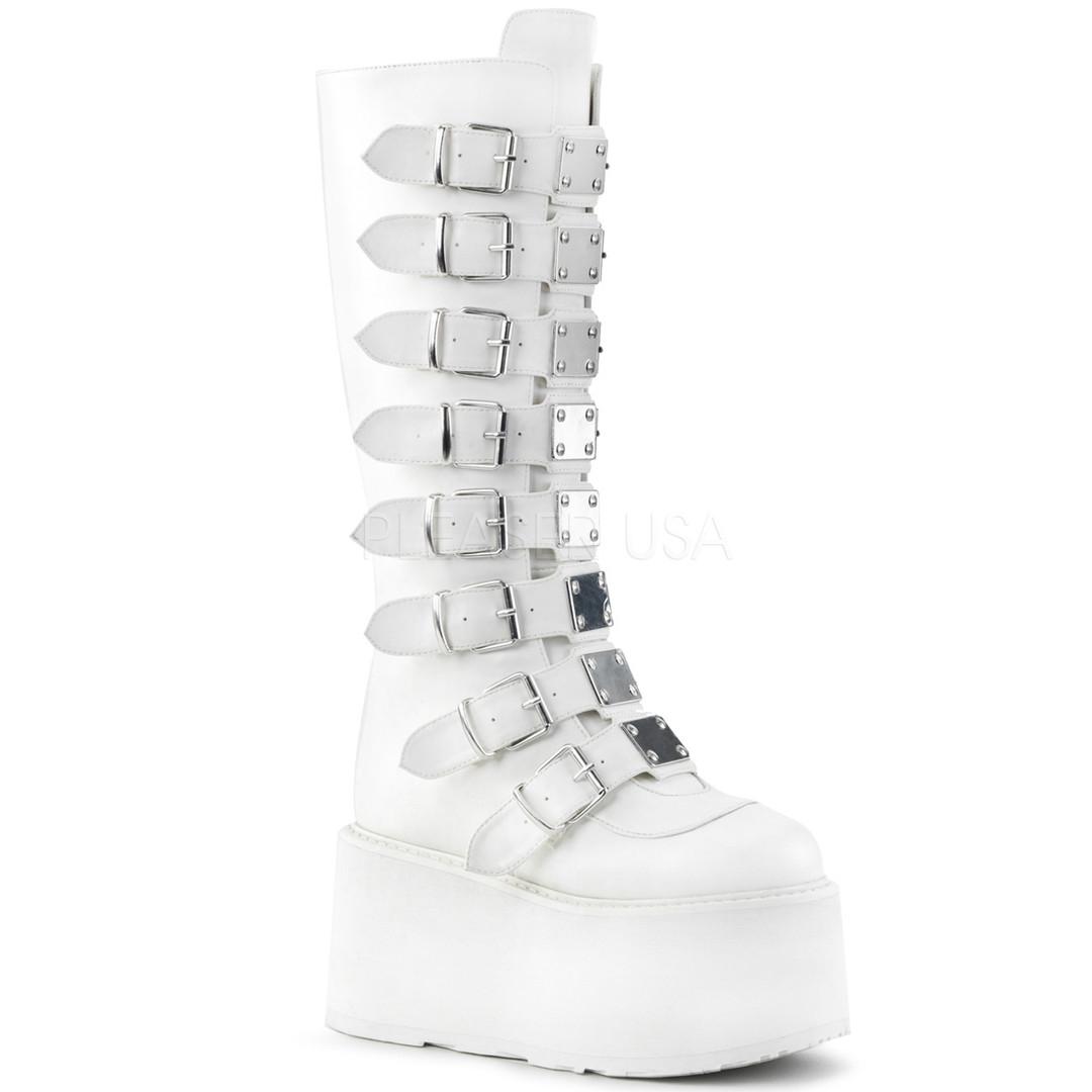 Knee High White Vegan Boots w/ Platform