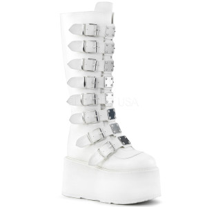 Knee High White Vegan Boots with  Platform Buckles and Straps