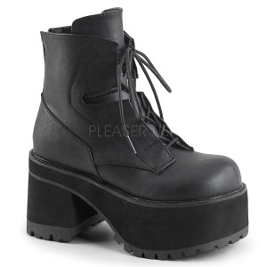 Ankle High Black Vegan Boots with  Detail Features