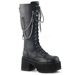 Knee High Black Vegan Boots with  Platform and Chains