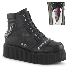 Ankle High Black Vegan Creepers Boots with  Straps and Zippers
