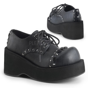 Black Vegan Platform Shoes with  Studs and Roses