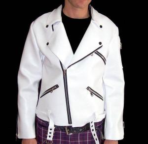 Vegan Leather White Biker Jacket